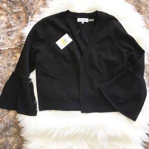 NWT Calvin Klein Black Cropped Bell Sleeve Shrug